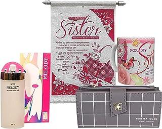 Saugat Traders Rakhi Gift for Sister - Coffee Mug, Scroll Card, Perfume & Women's Wallet - Gift for Sister On Rakshabandhan