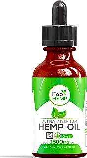 Hemp Oil Extract for Pain, Anxiety & Stress Relief - 1500mg Full Spectrum Organic Hemp Drops - Pure Hemp Extract With MCT - Natural Hemp Oils for Better Sleep, Mood & Stress - Zero THC CBD Cannabidiol