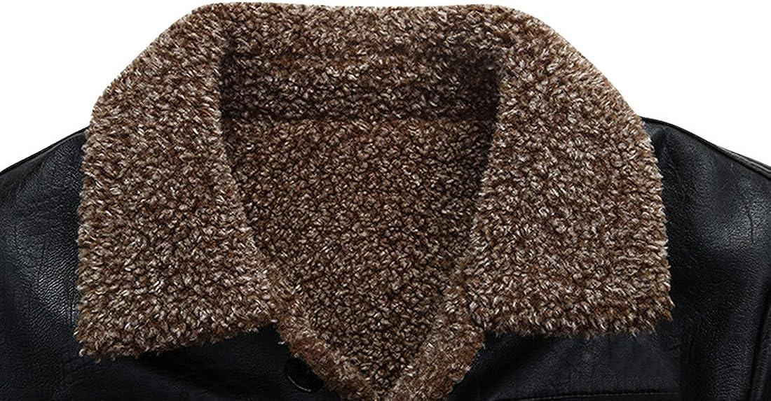 Springrain Men's Warm Lapel Buttons Sherpa-Lined Outerwear PU Leather Jackets