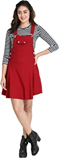 DIMPY GARMENTS BuyNewTrend Cotton Lycra 3/4th Sleeve Pocket Patch Dungaree Skirt with Striped Top for Women