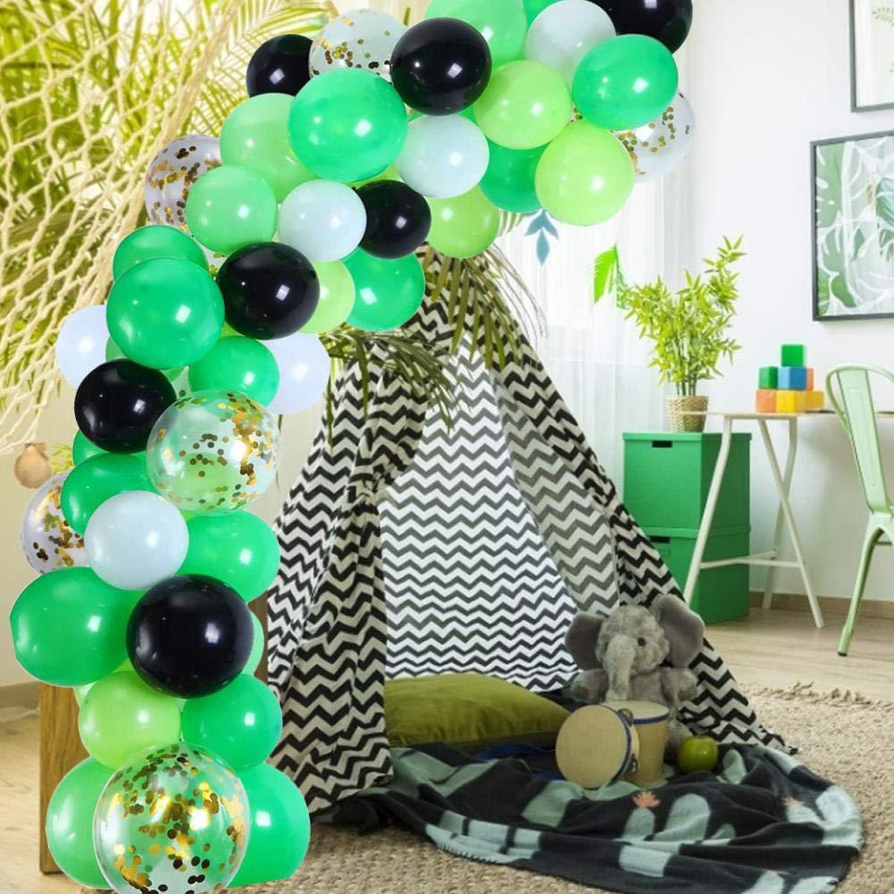 Globos de decoración para Fiestas, Color Verde, Blanco, Negro y ...