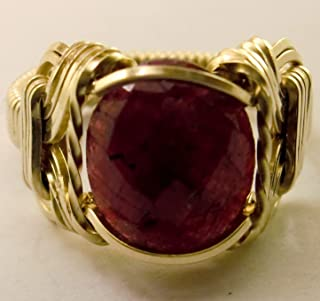 Natural Ruby 5 carat 14k Gold Filled Mens Ladies Unisex Ring Size 5-13 Jewelry July