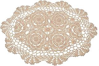 Kesheng Tapete Crochet para Mesa Camino Mesa Encaje Floral Vintage 50cm x 35cm