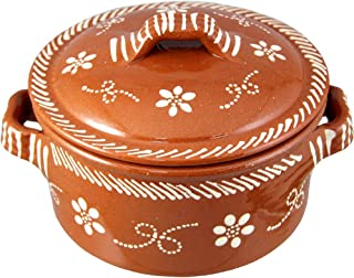 Vintage Portuguese Traditional Clay Terracotta Cazuela Casserole With Lid Made In Portugal (N.1 6 5/8