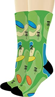 Sports Gifts for Men and Women Lucky Disc Golf Socks Disc Golf Accessories Novelty Crew Socks