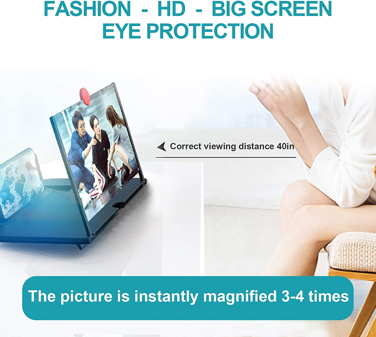 """12/""""HD Screen Magnifier-Mobile Phone 3D Magnifier Projector Screen for Movies Calls and Games-Foldable Phone Stand with Screen Amplifier-Compatible with All Smartphones Videos"""