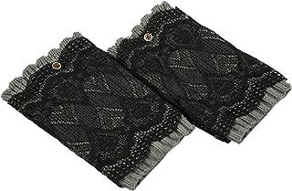 Beetest, 1 par de niños Crochet Largo Encaje Punto Perneras Invierno Pata Calcetines Calientes Polainas Arranque puños Calcetines Acolchados(ClaroGris)