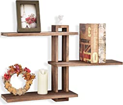 Emfogo Floating Shelves Wall Mounted Rustic Wall Wood Shelves 3 Tier for Decor and Storage at Bedroom Living Room Office C...