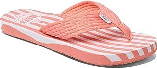 REEF Women's Original Stripe Sandal, Coral/White, 6
