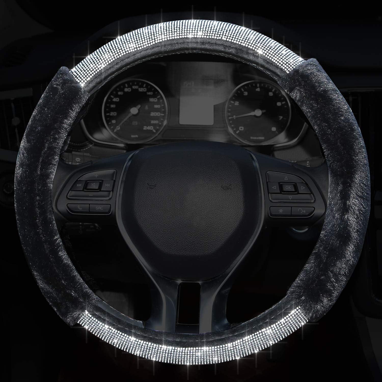 Universal Fit 15 Inch Anti-Slip Wheel Protector for Women Girls Meserparts Diamond Steering Wheel Cover Black Bling Bling Crystal Rhinestone Rainbow Steering Cover