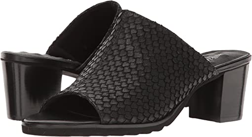 Black Cut Snake Print Leather