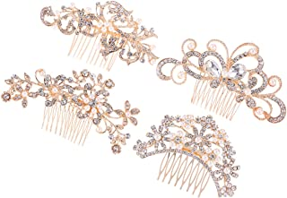 Frcolor Crystal Rhinestone Comb, 4pcs Bridal Pearl Flower Hair Pins Hair Clips for Wedding Party