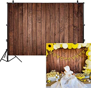Allenjoy 8x6ft Fabric Vintage Brown Wood Backdrops for Newborn Photography Wrinkle Free Rustic Russet Grunge Wooden Floor Planks Wall Baby Portrait Still Life Product Photographer Photo Studio Props