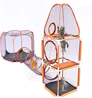 DAPU 3 in 1 Compound Pet Play House - 3-Levels of Jumping Tower & Hexagon Tent & 1 Tunnel,Pop Up Folding Enclosure Playpens,for Cat,Kitty,Dog,Puppy,Rabbit