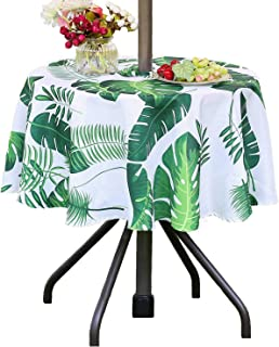 Poise3EHome 52 inches Outdoor/Indoor Waterproof Spillproof Round Tablecloth with Umbrella Hole for Camping, Picnic, Afternoon Tea, BBQ, Palm Leaf