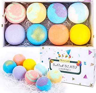 Sagekia 8packs Bath Bombs, Large Size 3.8oz Organic Bubble Bath Bomb Gift Set, Rich in Essential Oil, Gentle and Safe Fizz...