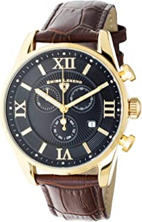 Men's Belleza Analog Swiss Quartz Watch Black Dial and Gold Stainless Steel Case with Brown Leather Strap 22011-YG-01-BRN