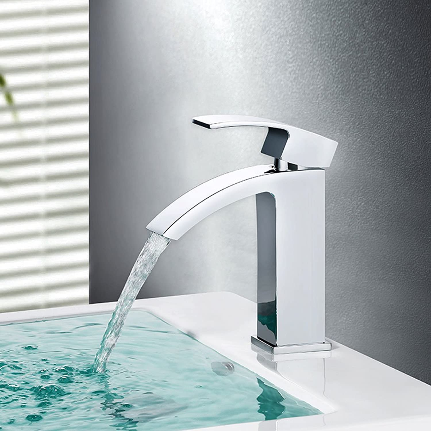 CHENGYI Home Modern Simple Faucet Deck Mount Waterfall Basin Mixer
