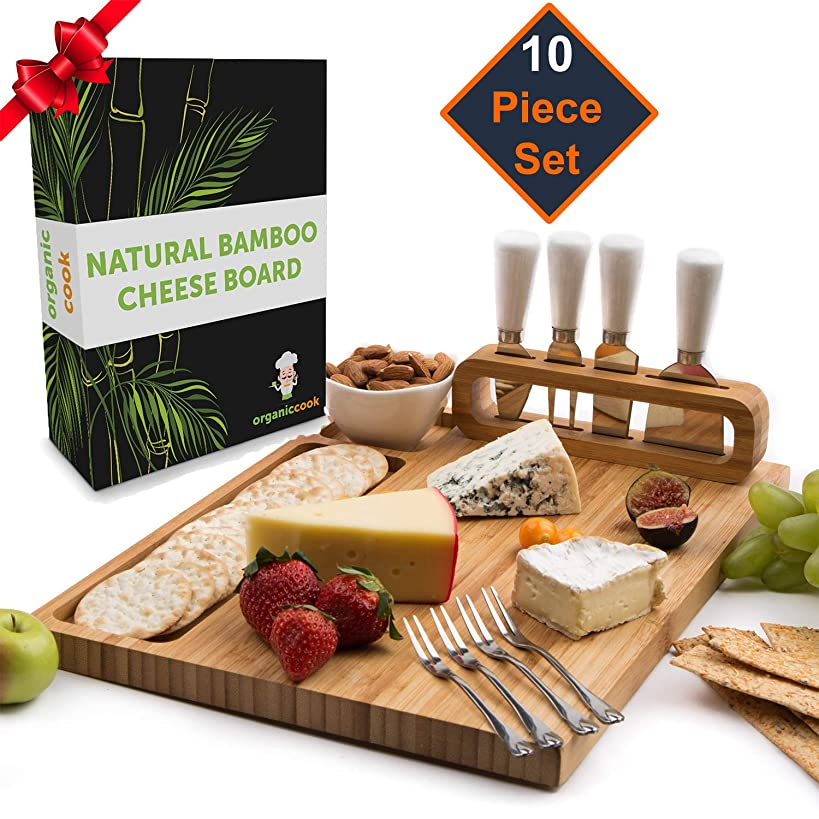 Cheese Board Set, Cheese Tray, Charcuterie Board: includes 4 Cheese Knives with White Ceramic Handles, 4 Stainless Steel Cheese Forks, Plus Ceramic Bowl, Large Size 14