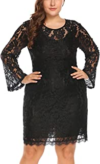 Women's Plus Size Elegant Flare Long Sleeve Lace Bodycon Cocktail Party Dresses