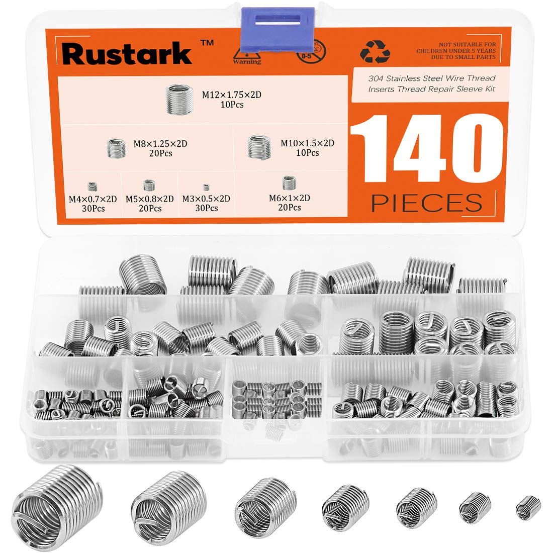 Rustark 140 Pcs Selling and selling 304 Stainless Steel Thread Inserts Wire Assorted Limited price sale