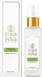 CORE & PURE Jasmine 50 ML Water Face and Body Mist- Helps in Wrinkled and Dull Skin  100% Natural Hydrosol