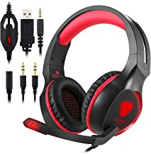 ohCome Gaming Headset with Mic for PS4, New Xbox One, Nintendo Switch, PC - Professional 3.5MM LED Light Over-Ear Headband Noise Reduction Surround Sound Stereo Headphones with Splitter (Black-red)