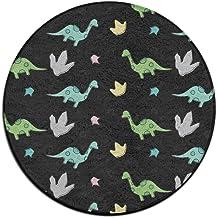 Round Area Rug Dinosaurs Pattern Soft Non-Slip Runner Floor Rug Front Door Mat Inside Outside Mat Rug Pads