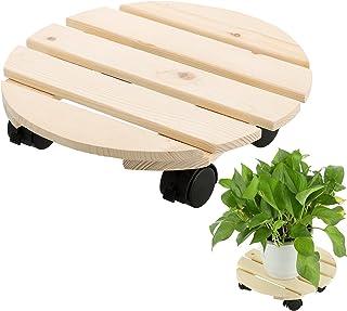 SLDHFE Support de pot de fleurs en bois avec roulettes verrouillables, 30 cm