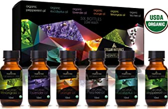 Stellar Naturals Organic USDA Aromatherapy Set of Lavender, Eucalyptus, Lemongrass, Peppermint, Tea Tree and Orange for Therapeutic Bliss