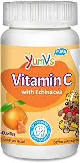 YUM-V's Vitamin C Chewable Jellies (Gummies) for Kids, Orange Flavor; Daily Dietary Supplement for Children with Echinacea...