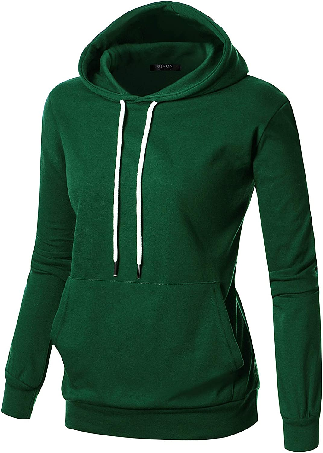 GIVON Womens Comfortable Long Sleeve Lightweight Pullover Hoodie With Kanga Pocket(XS~4XL)