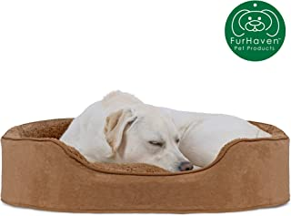 Furhaven Pet Dog Bed | Round Oval Cuddler Nest Lounger Pet Bed for Dogs & Cats - Available in Multiple Colors & Styles