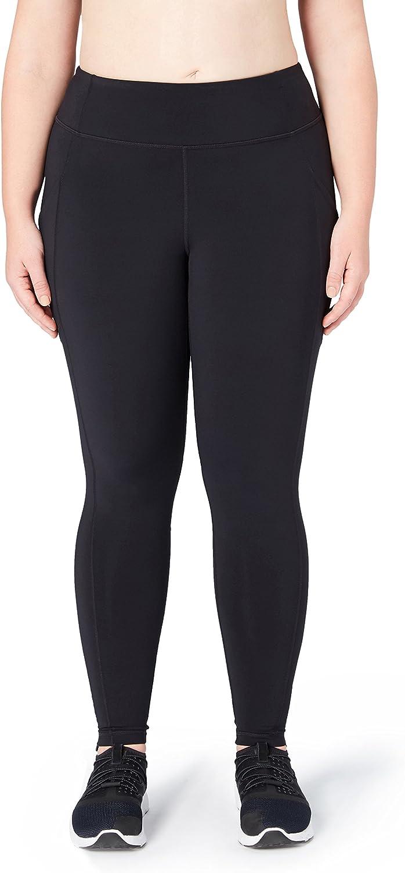 Core 10 Women's Regular Onstride Run Plus Size Medium Waist Tight, Black, 2X (18W20W)