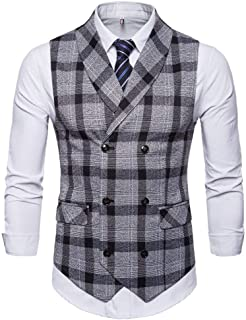 Men's Vest Men's Plaid Waistcoat Sleeveless Jacket Men's Modern Casual Suit Men's Suit Slim Fit Wedding Ceremonial Elegant