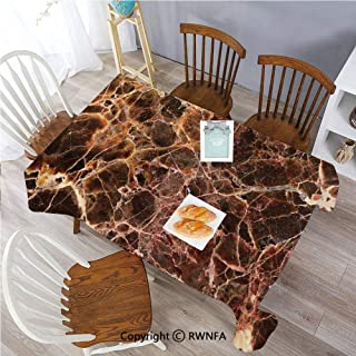Polyester Washable Table Cover Earthen Toned Surface Backdrop with Motley Featured Dynamic Stripes Picture Indoor Outdoor Party Holiday Birthday Home Picnic Decor(60×104 inch) Cinnamon Chocolate