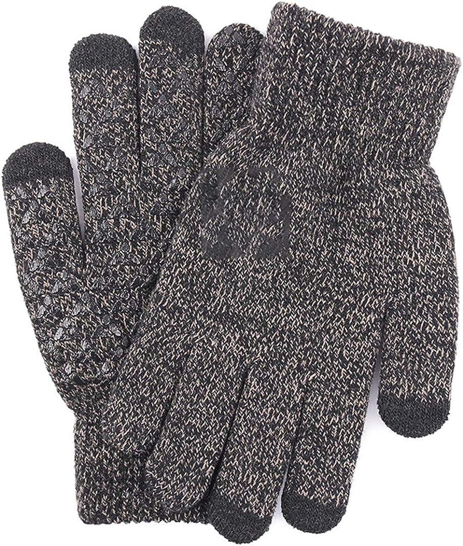 Touch Screen Knitted Gloves Men Women Thicken Wool Mitten Outdoors Anti-Slip Warmer Couple Gloves Men Dark grey