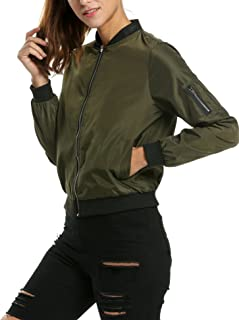 Zeagoo Womens Bomber Jacket Lightweight Casual Quilted Jacket Zip Drawstring Short Coat