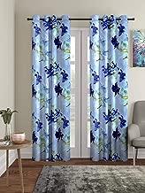 Home Sizzler 3D Flower 2 Piece Blue Door Curtain, 7 feet