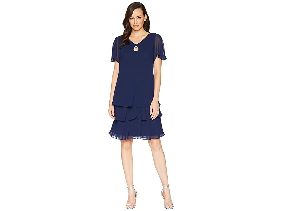 MARINA Tiered Chiffon Flutter Sleeve Dress (Navy) Women