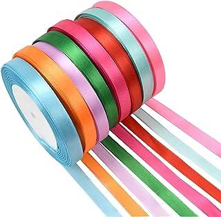 Changrongsheng 8 Pcs Ruban Satin 22m x 1cm Polyester Ruban Ruban Tissus Decoratif pour Emballage Cadeau Artisanat Mariage ...