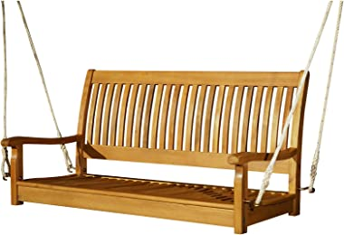 Outsunny 48'' Wooden Swing Bench w/Supportive Ropes for 2 Person Without Frame for The Patio, Deck, or Backyard Natur