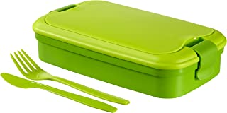Curver Lunch and Go Lunchbox with Cutlery, Green, 23.5 x 13.5 x 6.3 cm