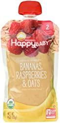 Happy Baby Clearly Crafted Organic Baby Food Stage 2, Bananas Raspberries & Oats, 4 Ounce