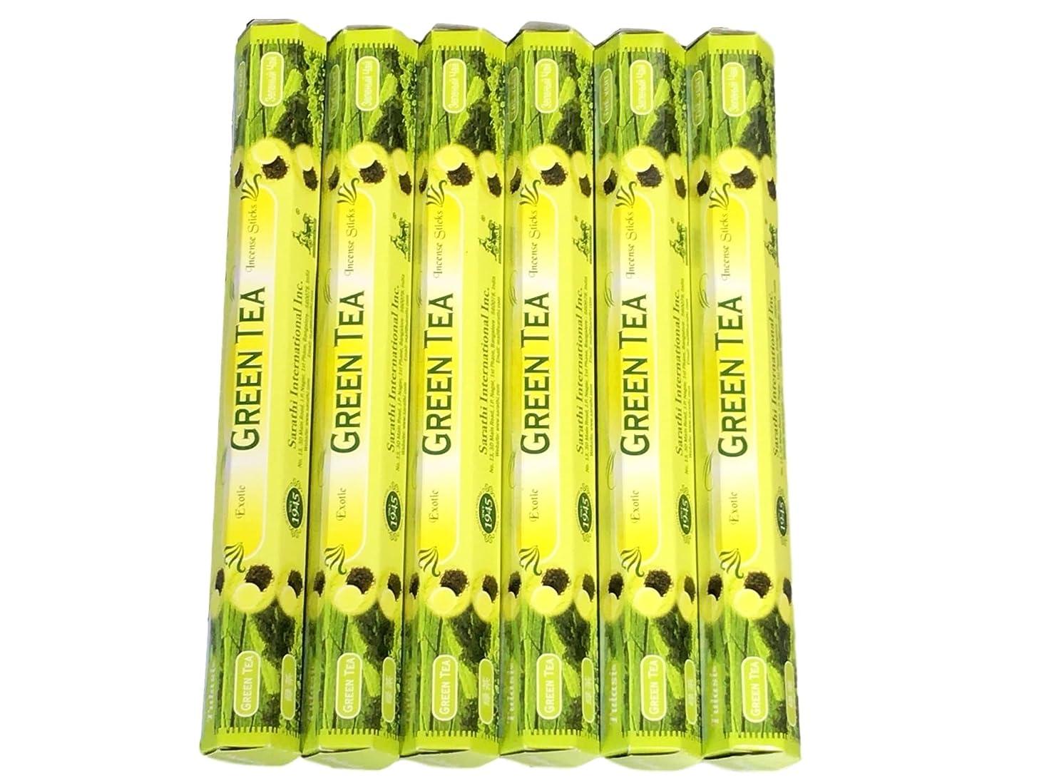 アクセル収入溶かすTulasi グリーンティー(GREEN TEA)香 スティック 6角(20本入り)×6箱 HEXAPACK