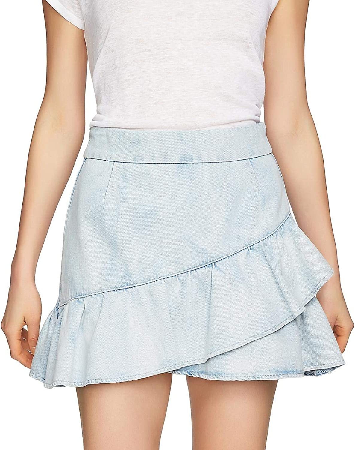 1.STATE Womens Ruffled Mini Denim Skirt