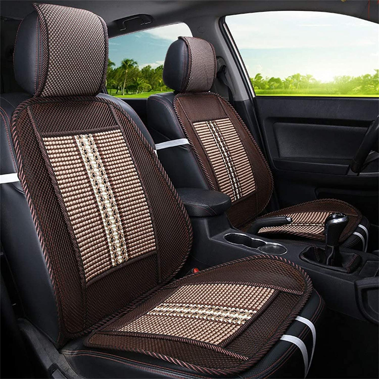 Car Seat Cushion Breathable Wood Bamboo Summer Front Row Seat Single Seat for Cars, Trucks