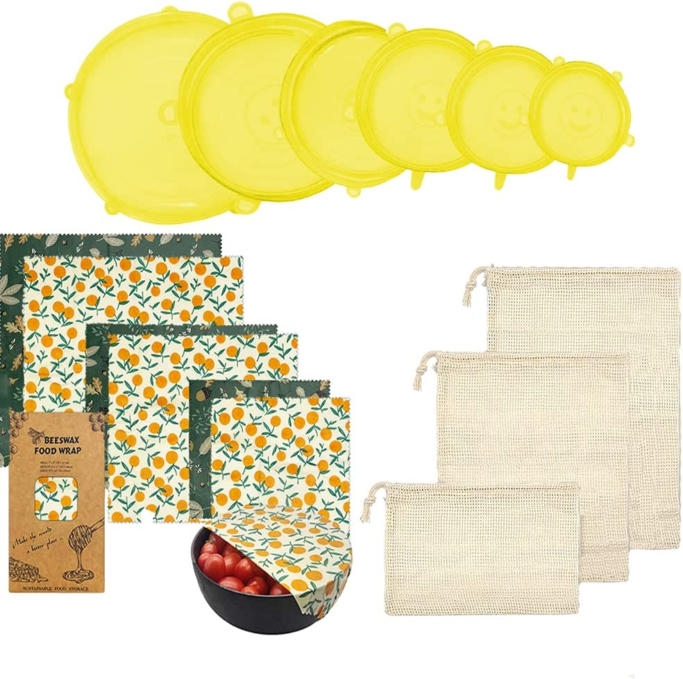 Reusable Beeswax Food Wrap- Silicone Stretch Lids - Reusable Produce Bags, Eco Friendly Food Storage, Dishwasher & Freezer Safe, Reusable Grocery Bag for Storage, 15 Pack (6 Wrap 3 Bags 6 Lids)
