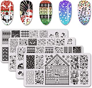 BEAUTYBIGBANG 4Pcs Nail Stamping Plate Christmas Theme - Santa Reindeer Snowflake Tree Bell Winter Image Plate Nail Art Design Stamp Kit Manicure Template Set