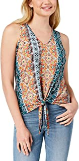 BCX Womens Printed Tie Front Tank Top